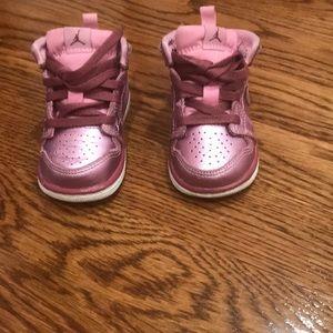 Baby girl pink Jordan sneakers